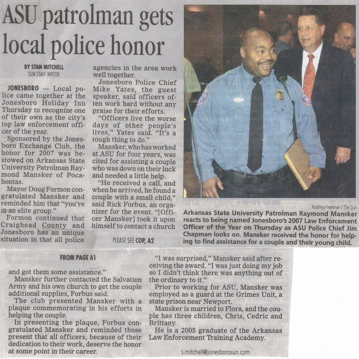Raymond Mansker Honored In Jonesboro